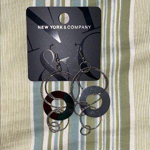 Long, Silver Circle Earrings